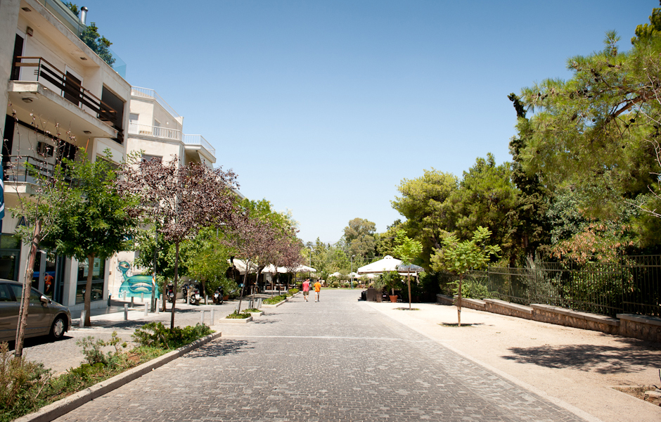 The wide, cobblestone pedestrian street is unique in Athens