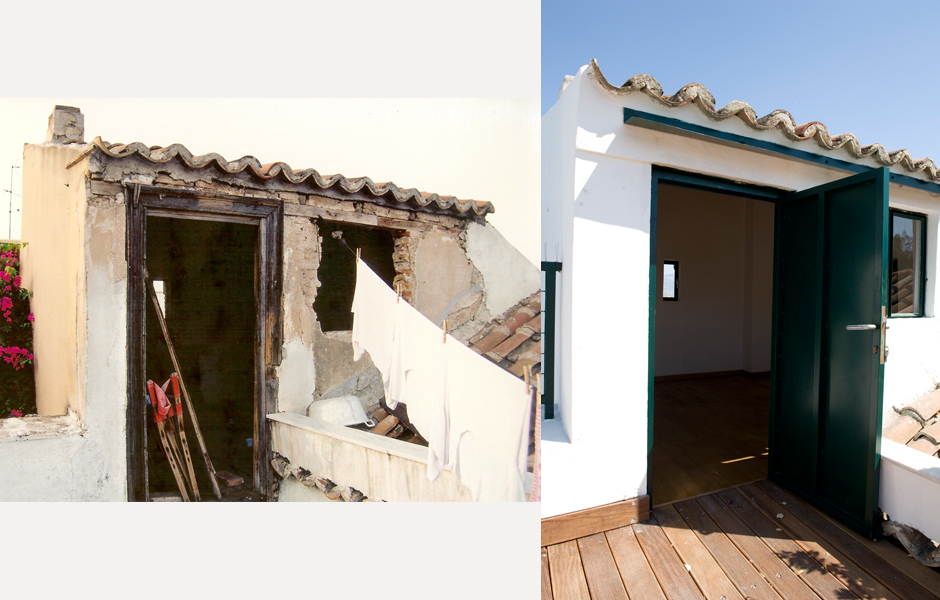 The dilapidated storage room on the terrace, now completely restored.