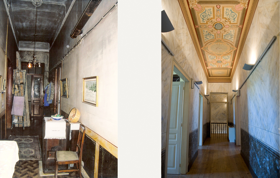 When the stove was removed and the ceiling was scraped clean, one of the most beautiful paintings was revealed and was  of course restored.  The corridor on the first floor was also covered with paint and it was assumed when the building was purchased by the current owner, that the corridors were never painted.