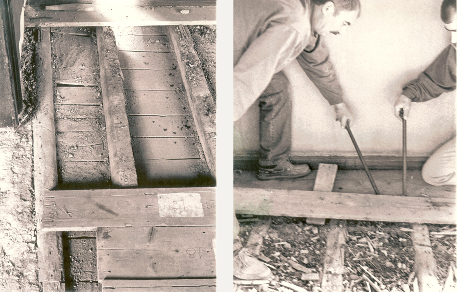 Second floor's wood planks were first numbered then carefully removed in order to reach the first floor's ceiling which was sagging and needed to be pulled up and reinforced.